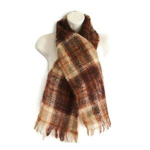 Wool Scarf Made In Scotland Plaid Brown Warm